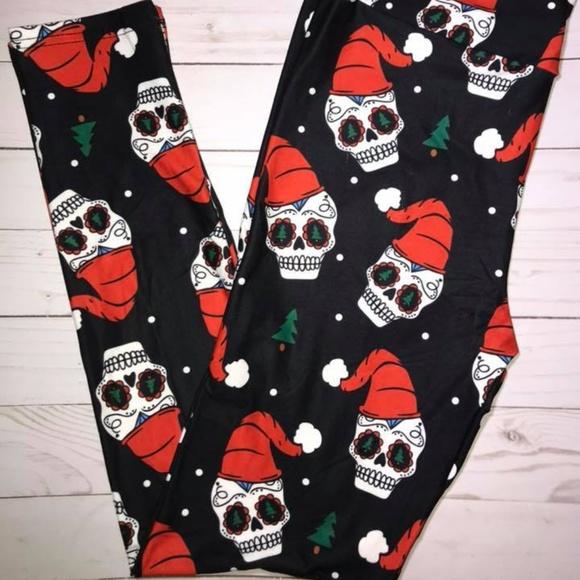 900a75166b9a7 JAAM Apparel Pants | Christmas Sugar Skull Santa Yoga Waist Leggings ...